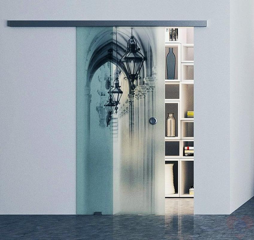 Межкомнатные стеклянные двери с рисунком фото
