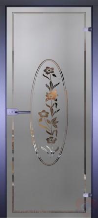 Дверь стеклянная межкомнатная Mirra - Цветы в круге