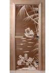 Стеклянная дверь для сауны Ольха - бронза Голубая лагуна