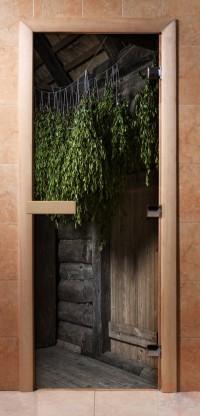 Стеклянная дверь для сауны - фотопечать А002