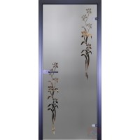 Дверь стеклянная межкомнатная Mirra - Цветочки