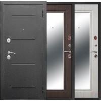 Дверь металлическая 7,5 Гарда Серебро Зеркало фацет