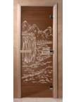 Стеклянная дверь для сауны Ольха - бронза Китай