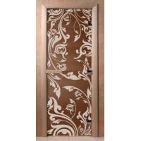 Стеклянная дверь для сауны Ольха - стекло бронза Венеция