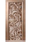 Стеклянная дверь для сауны Ольха - бронза Хохлома