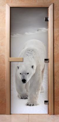 Стеклянная дверь для сауны - фотопечать А062
