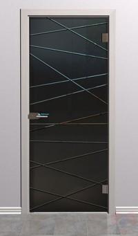 Дверь стеклянная межкомнатная Лайн-2 - Стекло серое матовое