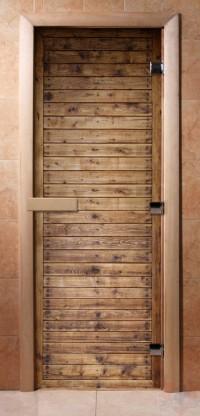 Стеклянная дверь для сауны - фотопечать А020
