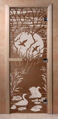 Стеклянная дверь для сауны Ольха - стекло бронза Лебединое озеро