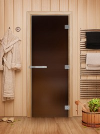 Стеклянная дверь для сауны Эталон - стекло бронза матовое