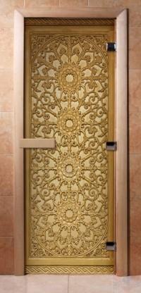 Стеклянная дверь для сауны - фотопечать А021