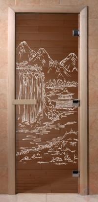 Стеклянная дверь для сауны Ольха - стекло бронза Китай