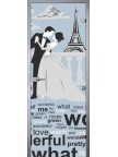 Стеклянная дверь Париж - Сатинато Белое