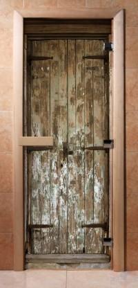 Стеклянная дверь для сауны - фотопечать А028