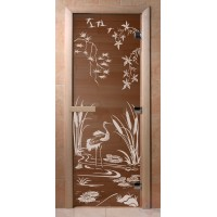 Стеклянная дверь для сауны Ольха - стекло бронза Камышовый рай