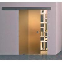 Одинарная раздвижная стеклянная дверь Лайт бронза - комплект