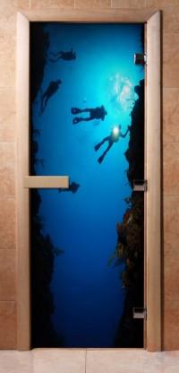 Стеклянная дверь для сауны - фотопечать А069