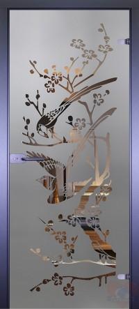 Дверь стеклянная межкомнатная Mirra - Сороки