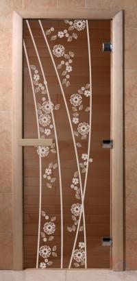 Стеклянная дверь для сауны Ольха - стекло бронза Весна цветы