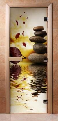 Стеклянная дверь для сауны - фотопечать А056