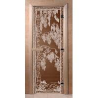 Стеклянная дверь для сауны Ольха - стекло бронза Березка