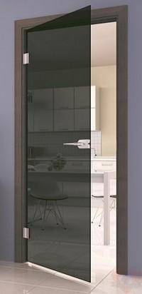 Дверь стеклянная межкомнатная Лайт прозрачное серое