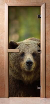 Стеклянная дверь для сауны - фотопечать А065