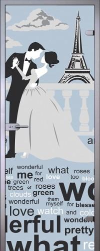 Дверь стеклянная Париж - Сатинато Белое
