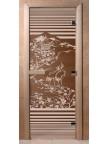Стеклянная дверь для сауны Ольха - бронза Япония