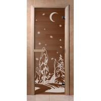 Стеклянная дверь для сауны Эконом - бронза Зима
