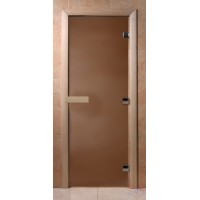 Стеклянная дверь для сауны Ольха - стекло бронза матовое