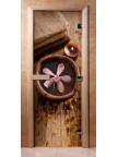 Стеклянная дверь для сауны - фотопечать А009