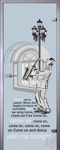 Дверь стеклянная Саксофонист - Сатинато Белое