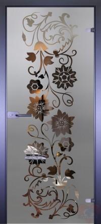 Дверь стеклянная межкомнатная Mirra - Цветы