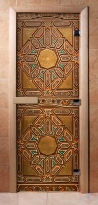Стеклянная дверь для сауны - фотопечать А022