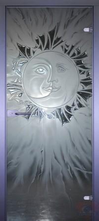 Дверь стеклянная межкомнатная Луна-солнце