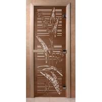 Стеклянная дверь для сауны Ольха - стекло бронза Листья