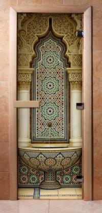 Стеклянная дверь для сауны - фотопечать А025