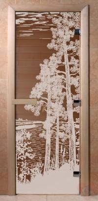 Стеклянная дверь для сауны Ольха - стекло бронза Рассвет