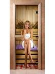 Стеклянная дверь для сауны - фотопечать А015