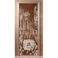 Стеклянная дверь для сауны Ольха - стекло бронза Волшебный пар