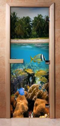 Стеклянная дверь для сауны - фотопечать А067