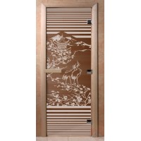 Стеклянная дверь для сауны Ольха - стекло бронза Япония