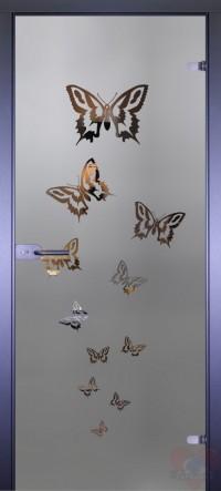 Дверь стеклянная межкомнатная Mirra - Бабочки разлет