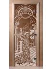 Стеклянная дверь для сауны Ольха - бронза Жар птица