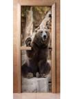 Стеклянная дверь для сауны - фотопечать А061