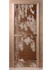 Стеклянная дверь для сауны Ольха - бронза Береза