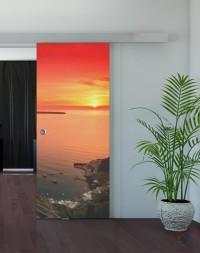 Одинарная раздвижная стеклянная дверь с фотопечатью Закат