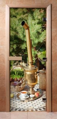 Стеклянная дверь для сауны - фотопечать А078