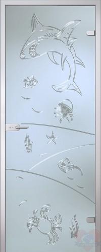 Дверь стеклянная межкомнатная Море